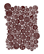 Circles Drawings Metal Prints - Red Abstract Metal Print by Frank Tschakert