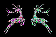 Deer Digital Art Metal Prints - Reindeer design by snowflakes Metal Print by Setsiri Silapasuwanchai