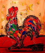 Outdoor Still Life Paintings - Rooster by Mark Kazav