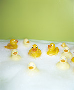 Bubbly Framed Prints - Rubber Ducks Framed Print by Lawrence Lawry