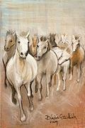 Warm Colors Pastels - 8 Running Horses by Dindin Coscolluela