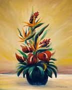 Gina Gray Paintings - Tropical Flowers by Gina De Gorna