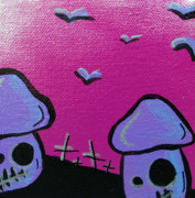 80s Framed Prints - 80s Zombie Mushrooms Framed Print by Jera Sky