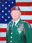 Army Commander Paintings - 82 Airborne Cpt. Portrait by Phyllis Barrett