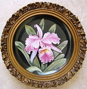 Orchids Ceramics - 829 Pink Orchid Framed by Wilma Manhardt