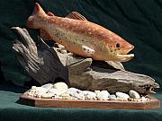 Outdoors Sculptures - Brown Trout by Keith Edmondson