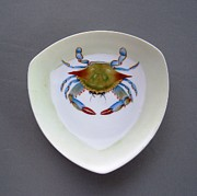 Hand Painted Porcelain Ceramics Posters - 866 1 part of  Crab Set 1 Poster by Wilma Manhardt