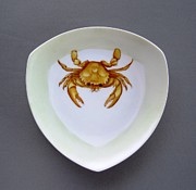 Hand Painted Porcelain Ceramics Posters - 866 2 Part of Crab Set 1 Poster by Wilma Manhardt