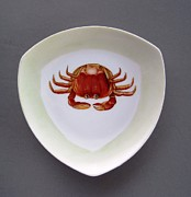 Hand Painted Ceramics Framed Prints - 866 3 part of Crab Set 1 Framed Print by Wilma Manhardt