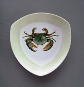 Hand Painted Ceramics Framed Prints - 866 4 part of the Crab Set 1 Framed Print by Wilma Manhardt