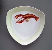 Fish Ceramics Metal Prints - 866 5 part of the Crab Set  866 Metal Print by Wilma Manhardt