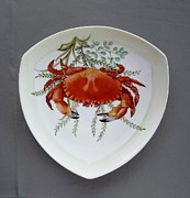 Hand Painted Porcelain Ceramics Posters - 866 6 Part of Crab Set  866  Poster by Wilma Manhardt