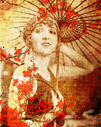 Cherry Blossom Prints - Winsome Woman Print by Chris Andruskiewicz