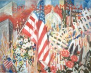 U S Flag Originals - 9-11 Attack by Ingrid Dohm