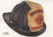 Honor Painting Framed Prints - 9-11 Firefighter Helmet Framed Print by Ken Powers