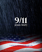 American Flag Mixed Media - 9-11 Jesus Wept by Shevon Johnson
