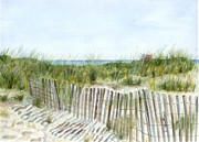 Beach Fence Prints - 9-12-2001 Print by Sheryl Heatherly Hawkins