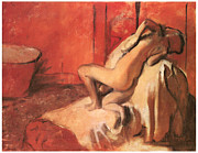 Woman Bathing Paintings - After the Bath by Edgar Degas
