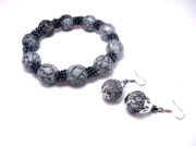 Gray Jewelry - Bracelet  and earrings by Gorean Olga