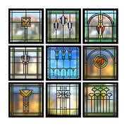 Bungalow Prints - 9 Bungalow Windows Print by Geoff Strehlow