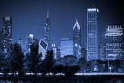 Lake Shore Drive Posters - Chicago Skyline at Night Poster by Paul Velgos