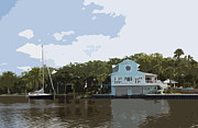 Riverfront Park Digital Art Prints - Eau Gallie River in Florida Print by Allan  Hughes