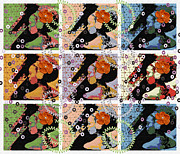 Popart . Prints - 9 Flowers Print by Mo T
