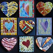 Valentine Glass Art - 9 Hearts by Gila Rayberg