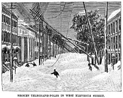 Manhattan Snow Posters - New York: Blizzard Of 1888 Poster by Granger