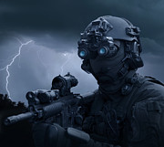 Lightning Bolts Posters - Special Operations Forces Soldier Poster by Tom Weber