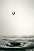 Grey Background Prints - Splashing Water Droplet Print by Sami Sarkis