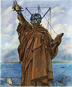 Liberated Photos - Statue Of Liberty 1886 by Granger