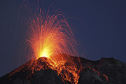 Mountain Peaks Prints - Stromboli Eruption, Aeolian Islands Print by Martin Rietze