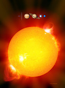 Neptune Posters - Sun And Its Planets Poster by Detlev Van Ravenswaay
