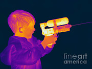 Hot Gun Posters - Thermogram Of A Boy Poster by Ted Kinsman