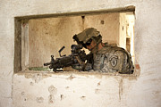 Ledge Prints - U.s. Army Ranger In Afghanistan Combat Print by Tom Weber