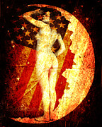 American Flag Mixed Media - Winsome Woman by Chris Andruskiewicz