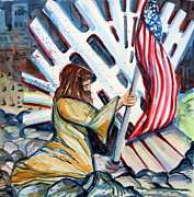 Us Flag Drawings - 911 Cries for Jesus by Mindy Newman