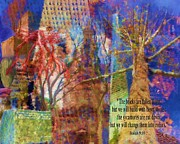 Blue Brick Mixed Media Prints - 911 Harbinger Isaiah 9 10  Print by Cindy Wright