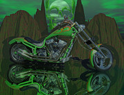 Chrome Skull Prints - 92 HellaChopper Print by Scott Bishop