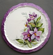 Flower Ceramics Originals - 937 Tea Tile with Clematis  by Wilma Manhardt