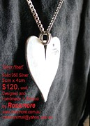 Mexico Jewelry - 950 Silver Heart by Galeria Rossmore
