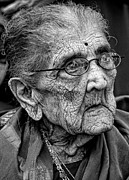 Old Woman Portrait Prints - 96 Year Old Indian Woman India Day Parade NYC 2011 2 Print by Robert Ullmann