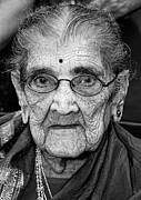 Old Woman Portrait Prints - 96 Year Old Indian Woman India Day Parade NYC 2011 Print by Robert Ullmann