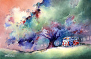  Hippie Painting Prints - A 23 Window VW Bus at Rest Print by Michael David Sorensen