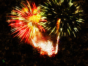 Fireworks Painting Metal Prints - A 4TH Celebration  Metal Print by Adam Vance