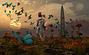 Alien World Prints - A Astronaut Is Greeted By A Swarm Print by Mark Stevenson