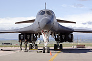 Lancer Framed Prints - A B-1 Lancer Awaits A Pre-flight Framed Print by Stocktrek Images