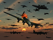 Interceptor Prints - A B-17 Flying Fortress Is Set Ablaze Print by Mark Stevenson