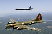 Vintage Air Planes Posters - A B-17g Flying Fortress Participates Poster by Stocktrek Images
